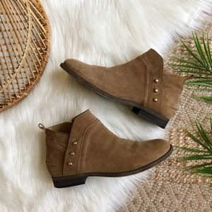 Franco Sarto Tan Suede Studded Ankle Boots 10